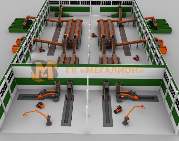Waste sorting facility with productivity up to 400 thousand tons of MSW per year (variant)