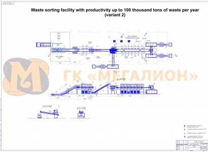 Waste sorting facility with productivity up to 100 thousand tons of MSW per year (variant) - схема 2