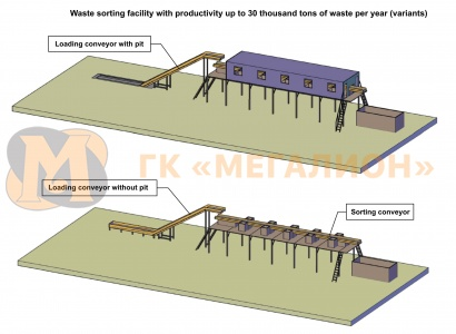 Waste sorting facility with productivity up to 30 thousand tons of MSW per year (variant) - схема 1